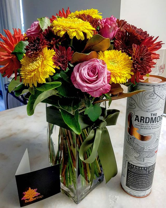 A little bit #spoilt by my fellow Wolves. See, #birthdays can be #fun! . . . . . . #flowers #scotch #treat #surprise #cakewasgood #nocakeforphoto