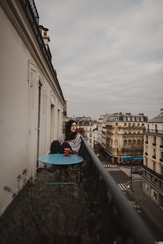 Taking my petit dej' on my old terrace overlooking Rue Des Écoles