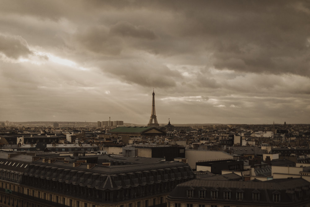 View from the roof of the Galeries Lafayette (keep in mind the roof is closed whenever there's inclement weather).
