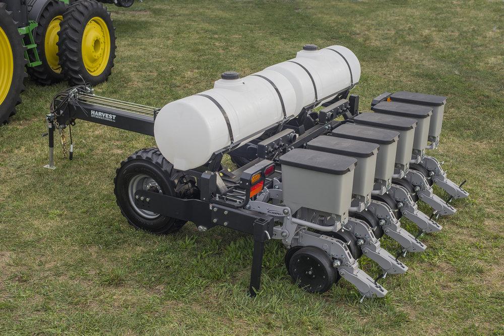 "10' pull-type PowerPlant bar w/ dual 100 gal tanks configured on 20"" spacing with 6 LaserPro1 1.6bu box units."