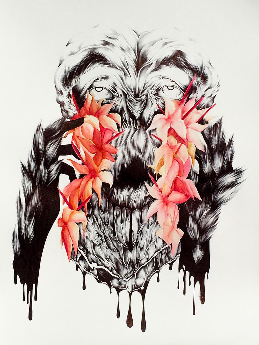 Creature #1    Medium: Black Ballpoint Pen, Watercolor, and Colored Pencil