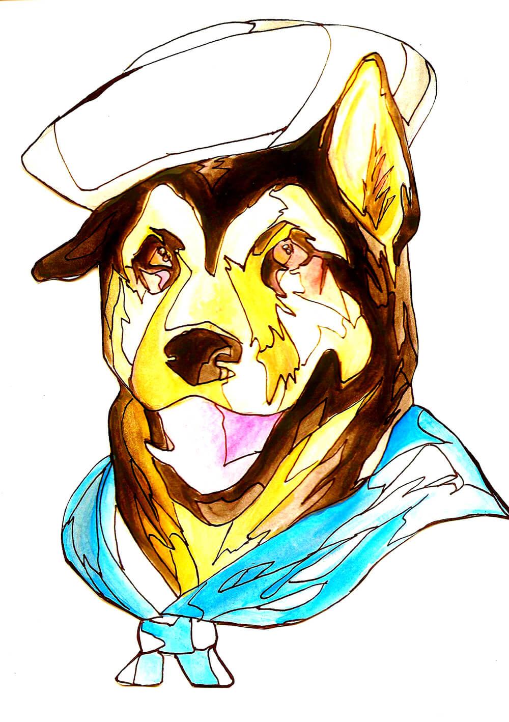 One Salty Seadog! Medium: Watercolor and Sharpie Marker