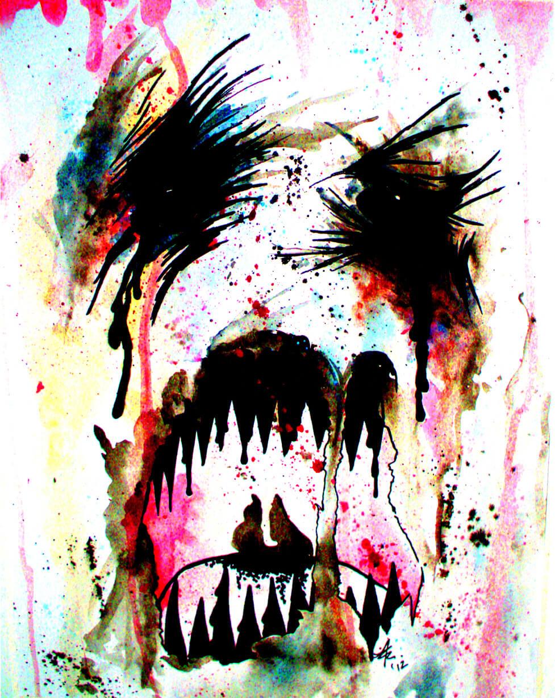 Watercolor Creature Medium: Watercolor and Sharpie