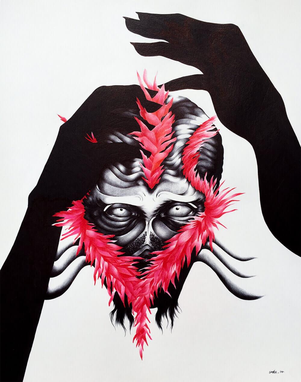 Creature #4 Medium: Black Ballpoint Pen, Watercolor, and Colored Pencil