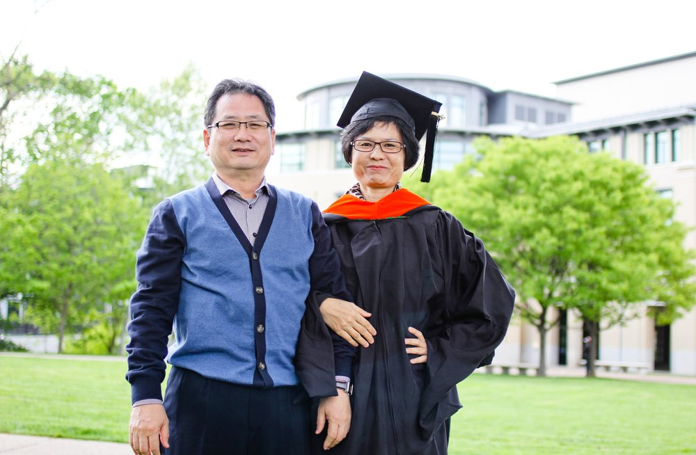 Victor Lin (left) and Charis Liu (right) attending son's commencement happily