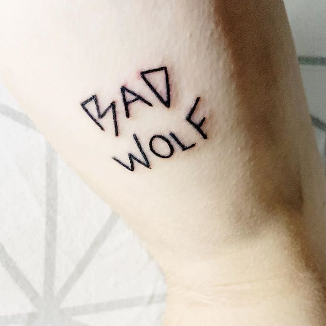 "Tattoo number four... Bad Wolf.  Ever since 2005 I have been a massive doctor who fan, I remember watching the black and white 1963 series re-runs when I was super small! ""I am the Bad Wolf, I create myself, I take the words and scatter them in time and space a message to lead myself here."" #rosetyler #badwolf #doctorwho #whovian #tattoo #doctorwhotattoo #whovian #tatts #tenthdoctor #ninthdoctor #rose"