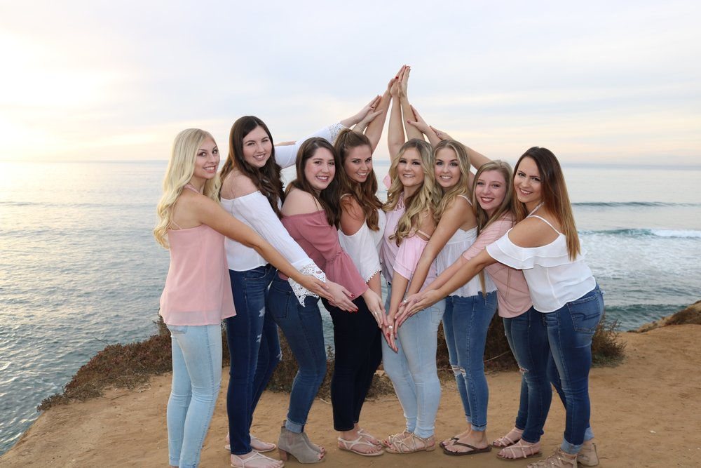 Pictured (from left to right): Mikaela Rice, Samantha Duffy, Kate Lacina, Cara Clancy, Aspen Waddle, Makenna Smith, Jen Barbanica, Meghan Ursa.