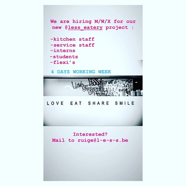#jobalert @less_eatery ... Love Eat Share Smile ❤️