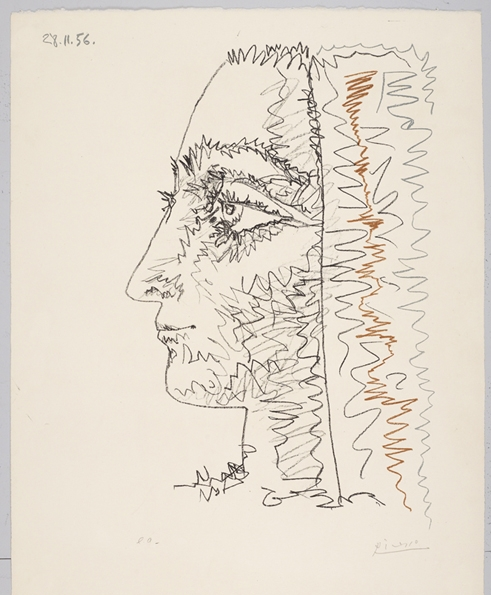 Profil en trois couleurs  (1956) (cropped) by Pablo Picasso. For sale by Galerie Boisserée.