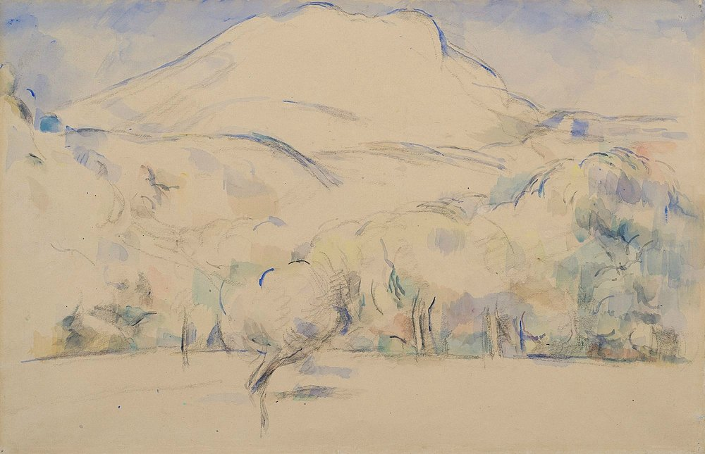 Mont Sainte-Victoire  (c. 1890) Paul Cézanne. 28 x 44.5 cm, watercolour on paper. Offered by Dickinson at TEFAF 2018.