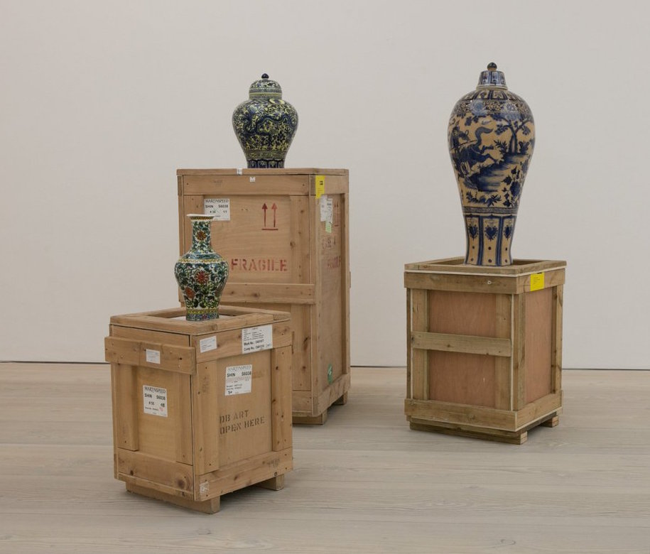 Meekyoung Shin,  Translation Vase Series.  Soap, Pigment, Varnish, Mirrored Stainless Steel Plates, Wooden Crates, 2006 ongoing