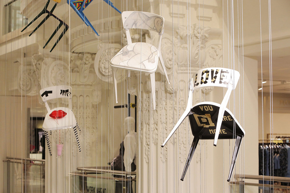 Re-Work It!   Selfridges, London  A unique installation of 90 RACE chairs, individually transformed by leading artists, architects, designers and fashion icons to raise funds and awareness for charity The Art Room.  Image: Installation shot