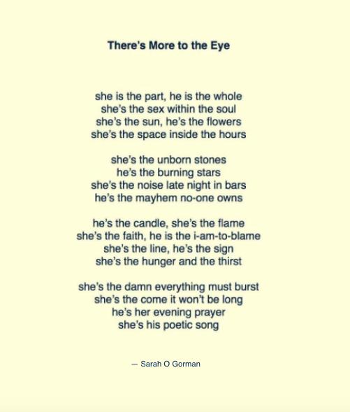 More to the eye sarah o gorman lyrics