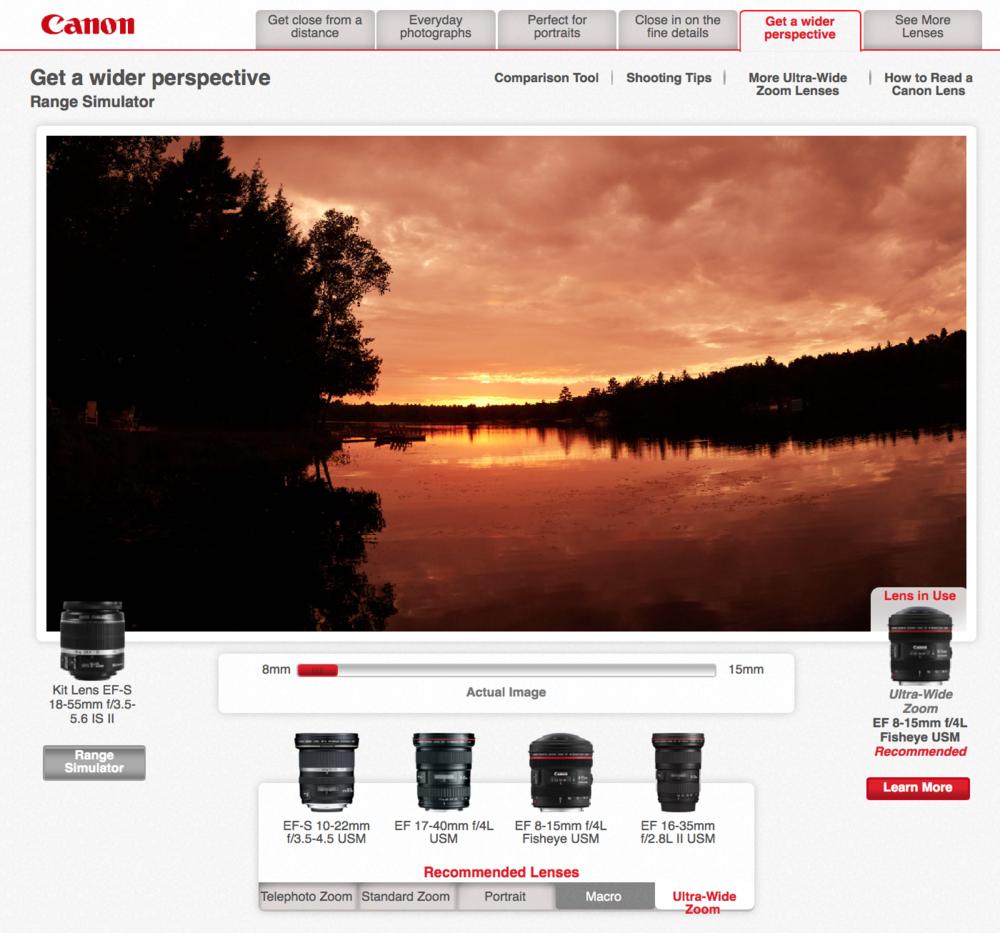 camera simulator, Canon Lens Simulator Online Cameraplex