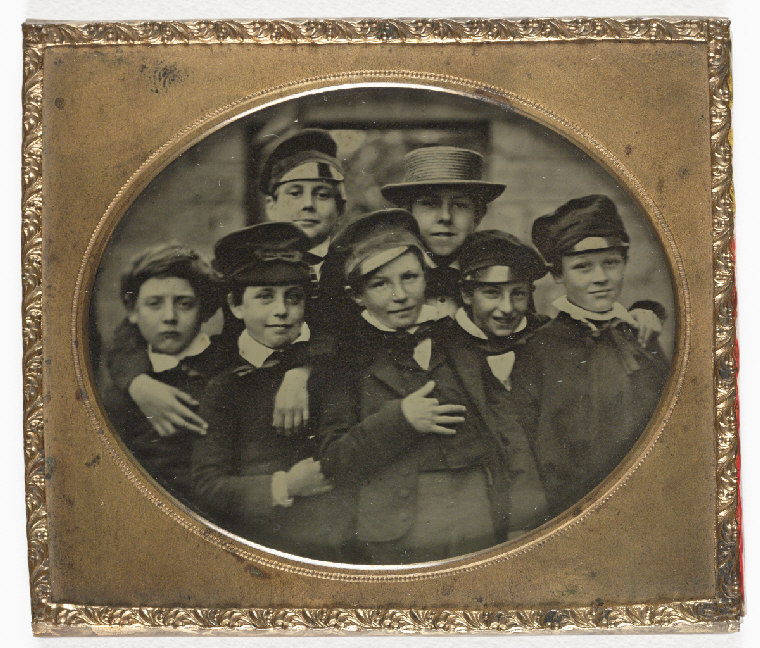 Earliest Known Images of People Smiling, Ambrotype of a group of children, c. 1860 (source)