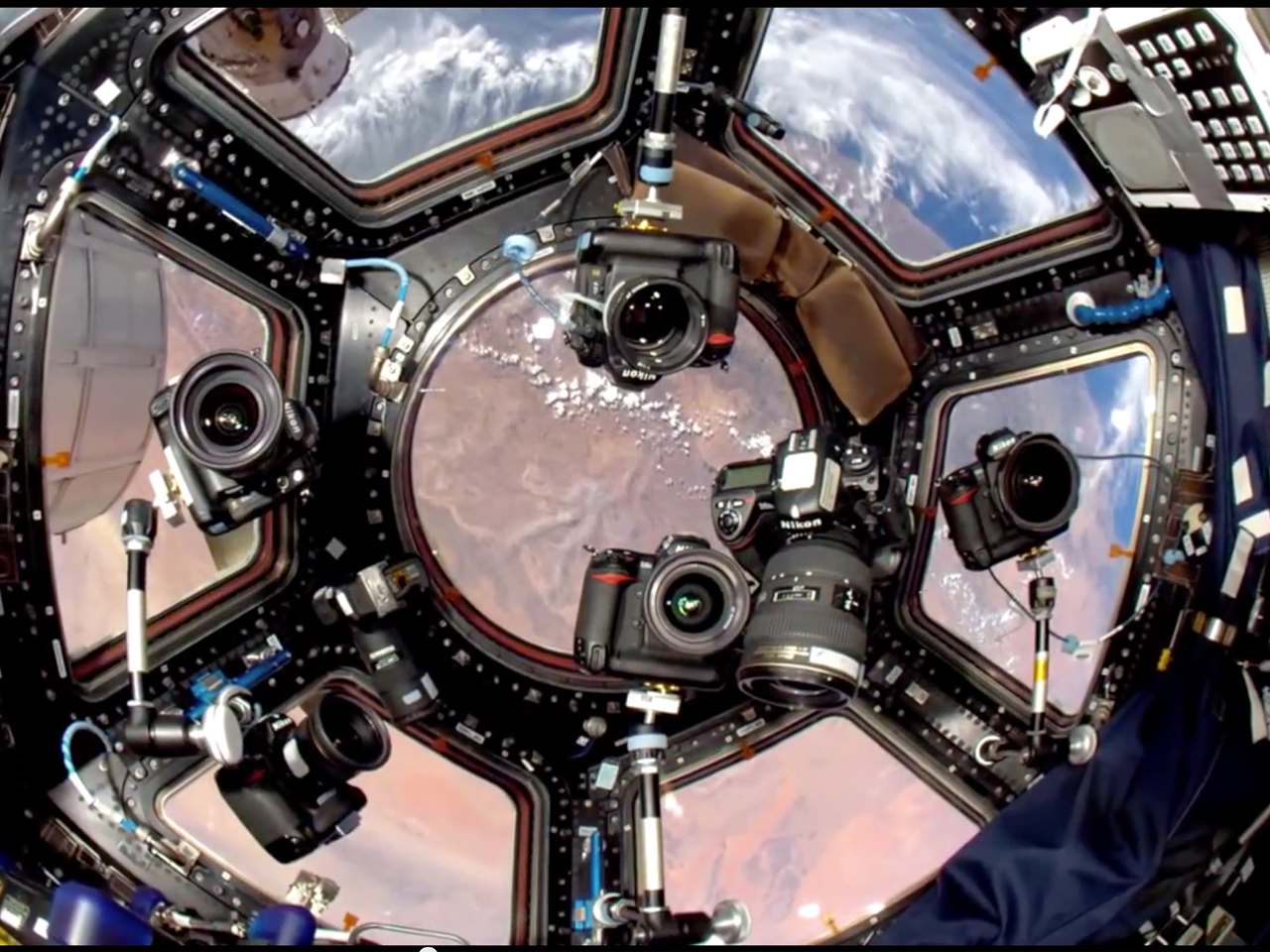 NASA Space Photographer , Cupola Window Camera Setup Astronaut Cameraplex