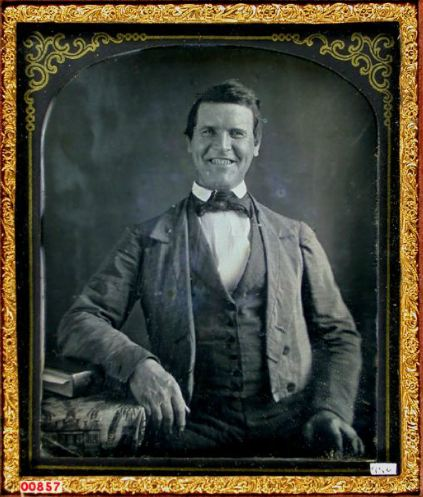 Earliest Known Images of People Smiling, Daguerreotype portrait of man smiling (source)