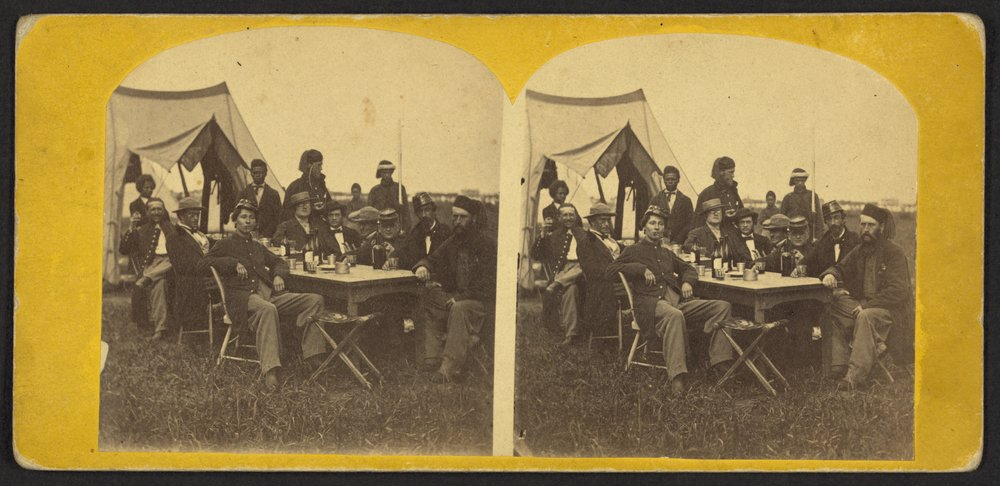 Earliest Known Images of People Smiling, Union soldiers at Fort Monroe, Virginia, 1861 (source)