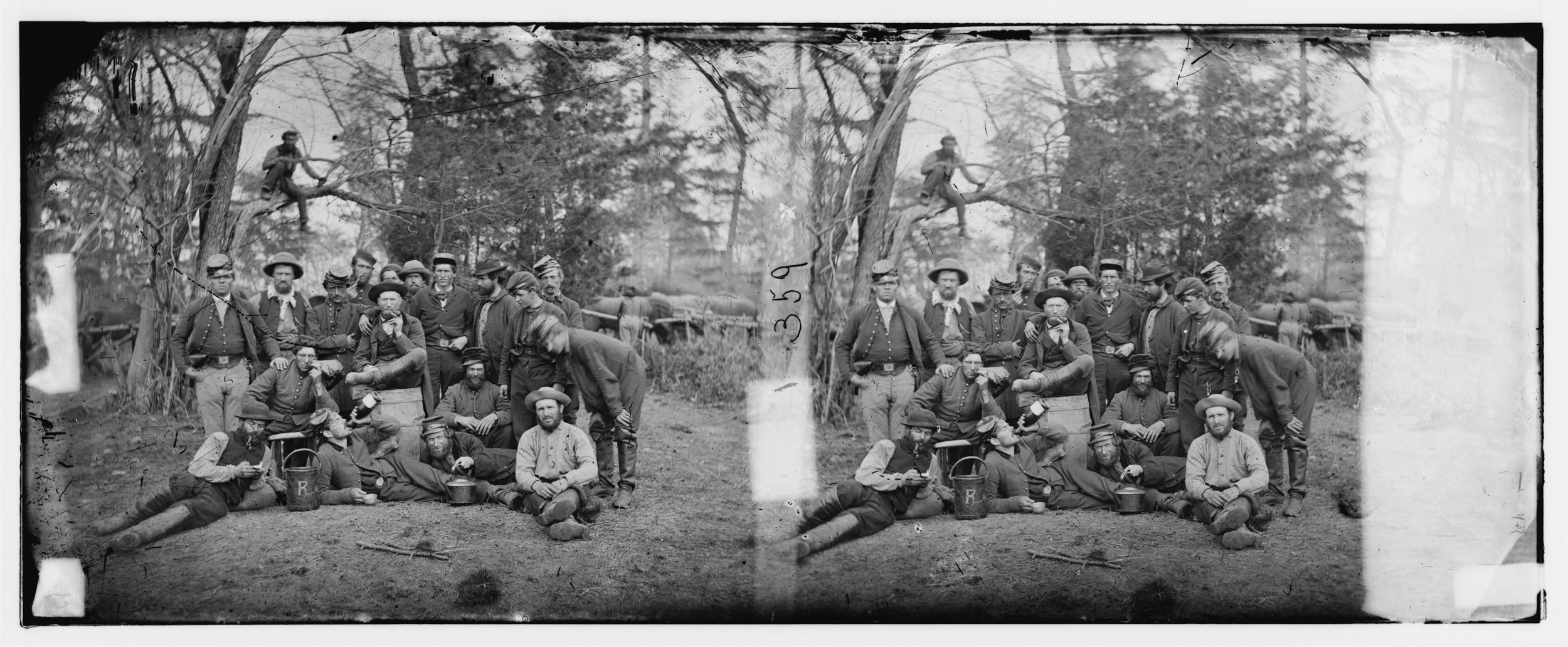 Earliest Known Images of People Smiling, Union soldiers at Yorktown, Virginia, by James F. Gibson, 1862