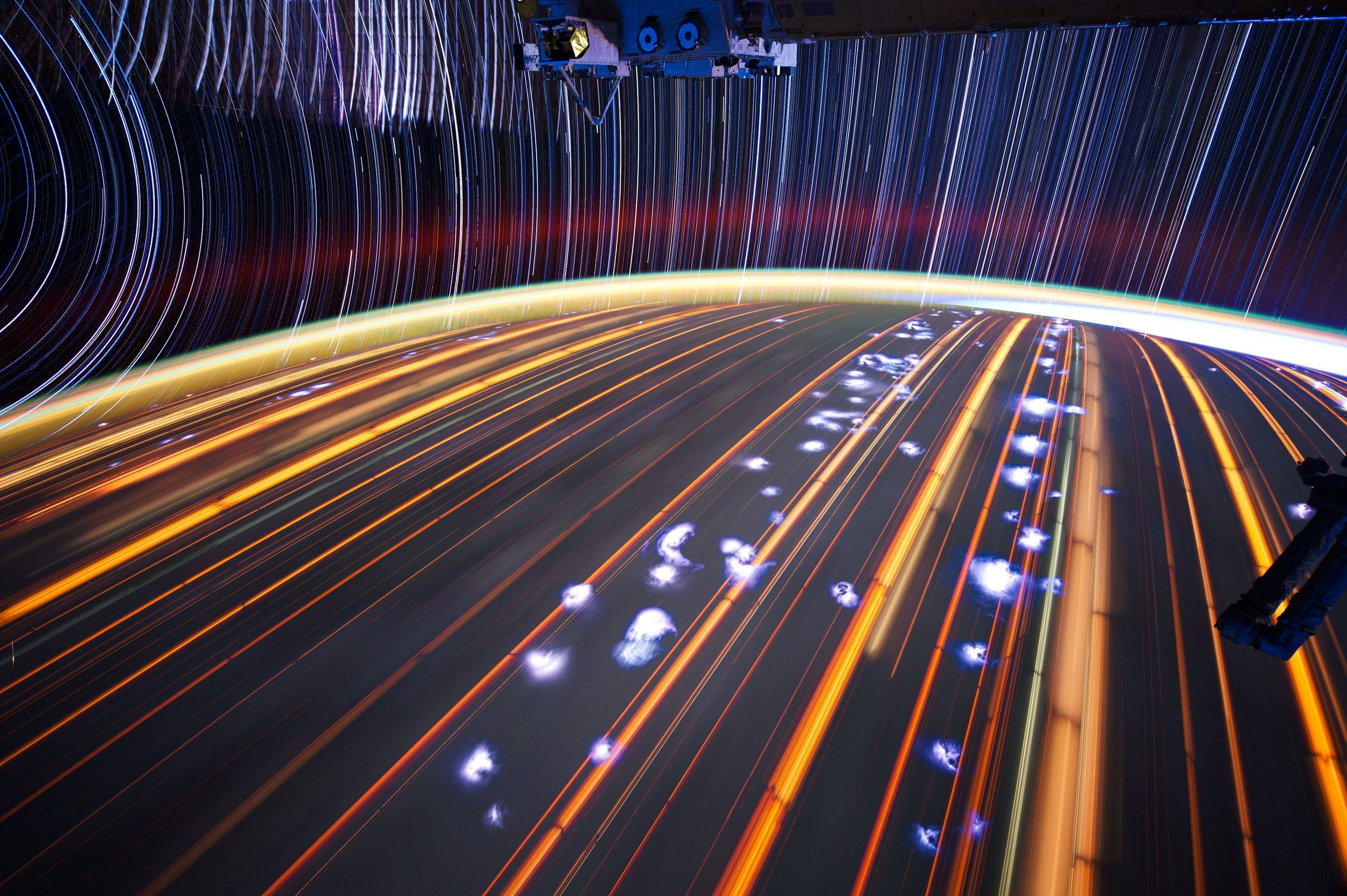 NASA Space Photographer , Expedition 31 star trail composite using iss
