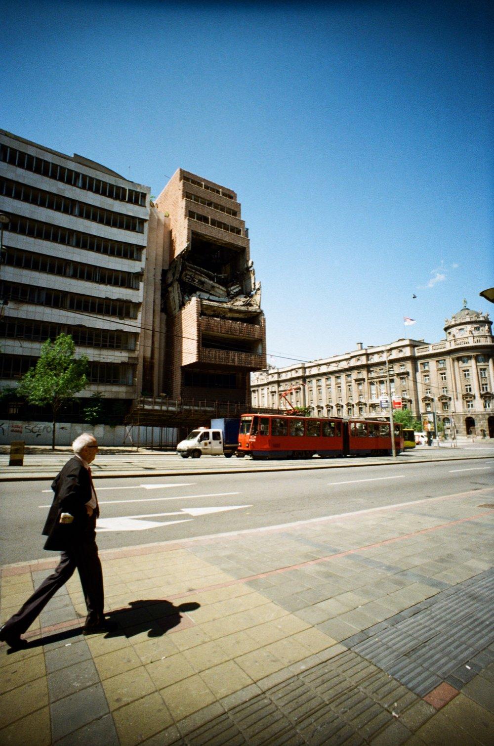 Yugoslav Ministry of Defence Building Still Damaged from 1999 NATO Bombing - Summer 2017