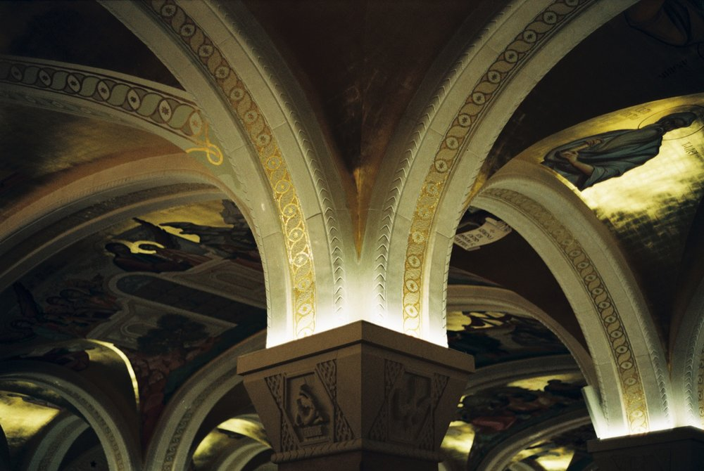 Pillars in the crypt of the temple of St. Sava - Belgrade, Serbia