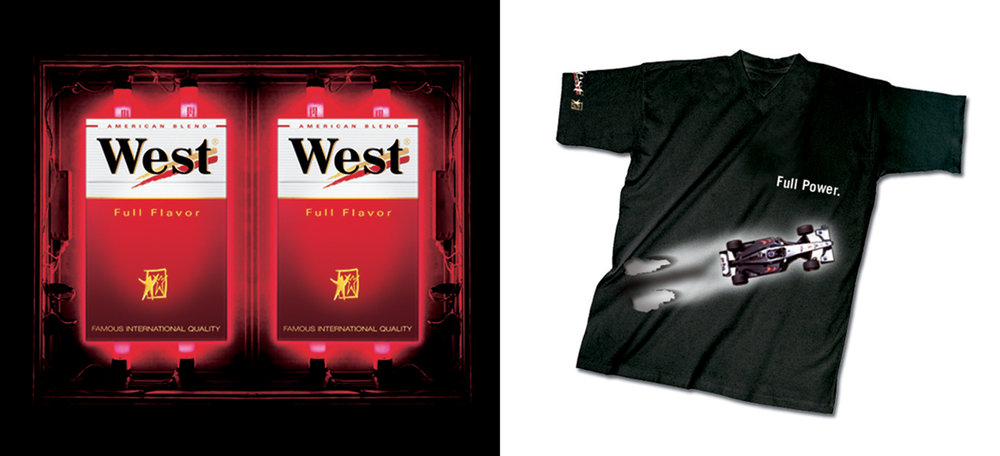 WEST CIGARETTES – P.O.S. Display + T-shirt Give-away. / WEST ZIGARETTEN – P.O.S. Display + T-shirt Give-away.