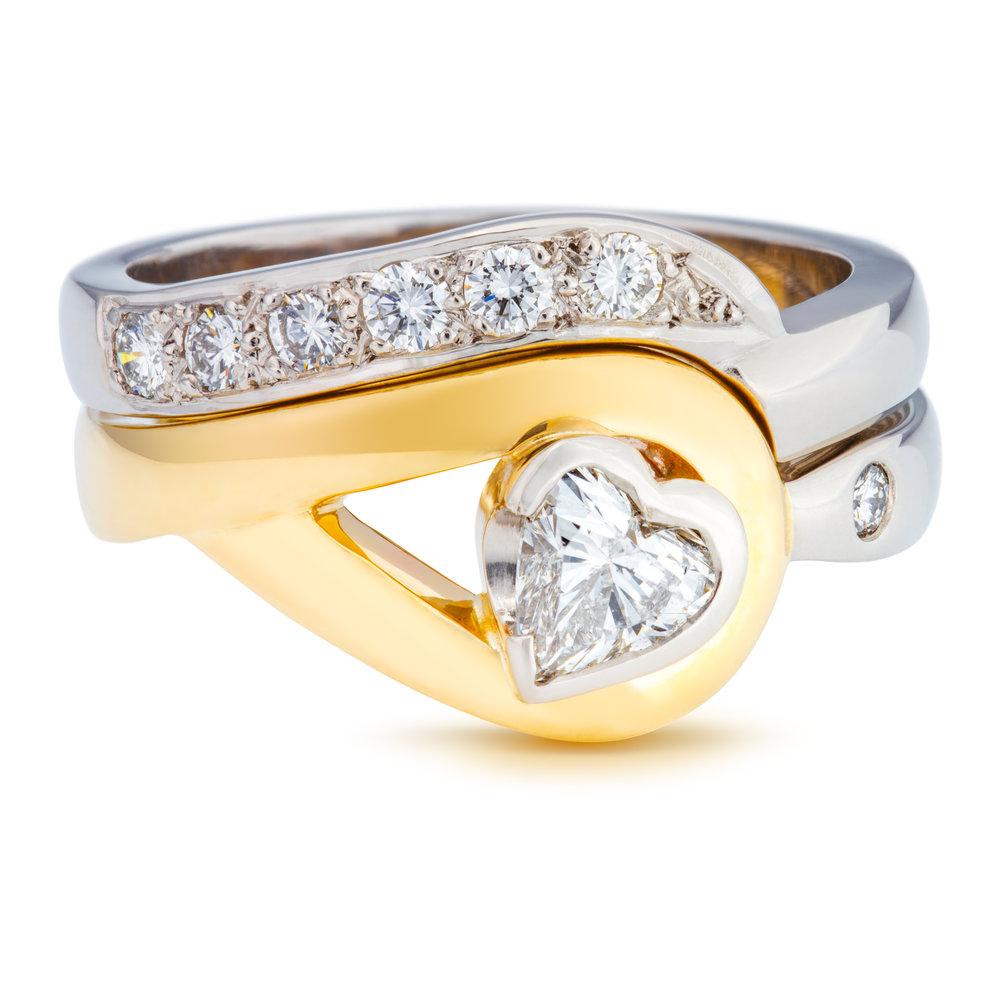 Bespoke palladium, 9ct yellow gold and diamond engagement and wedding ring set commission