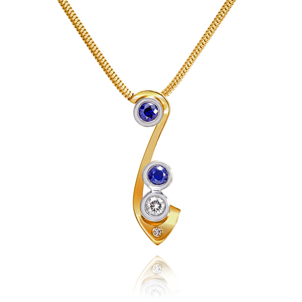 Bespoke 18ct yellow gold, sapphire and diamond commission
