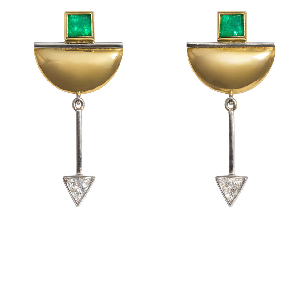 Bespoke emerald and diamond earring commission