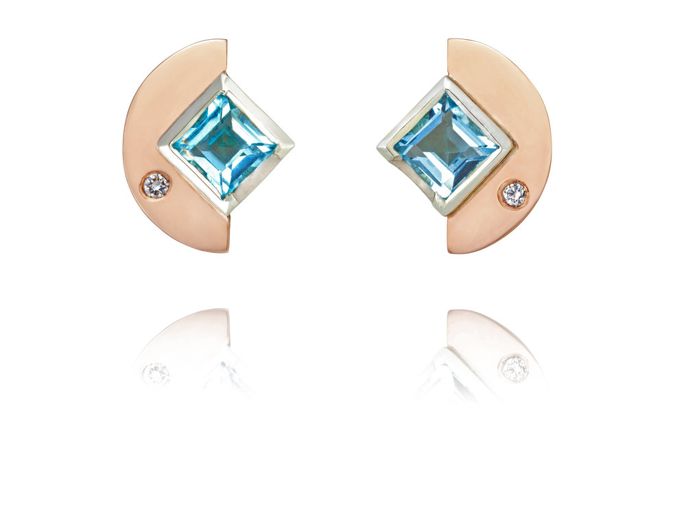 9ct rose and white gold, aquamarine and diamond earrings - see available to buy