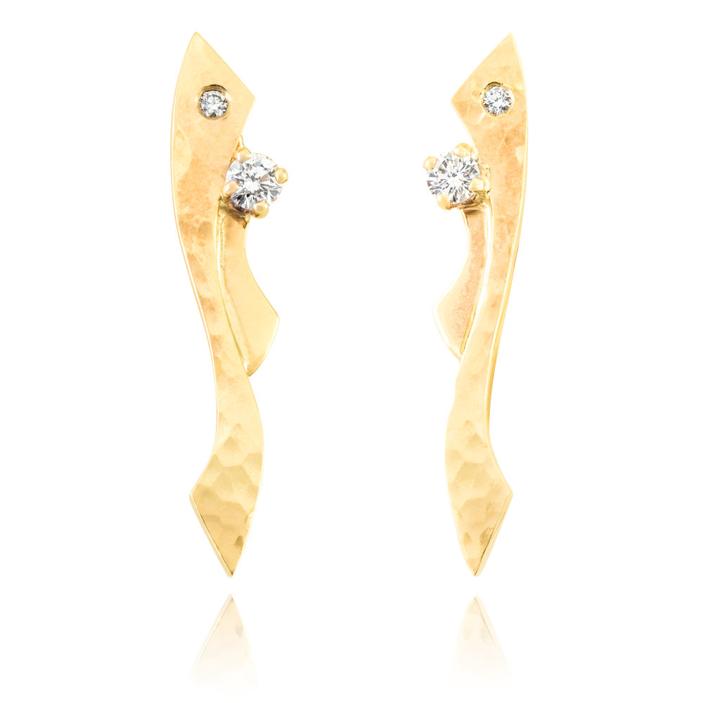 Bespoke 9ct yellow gold and diamond earring commission