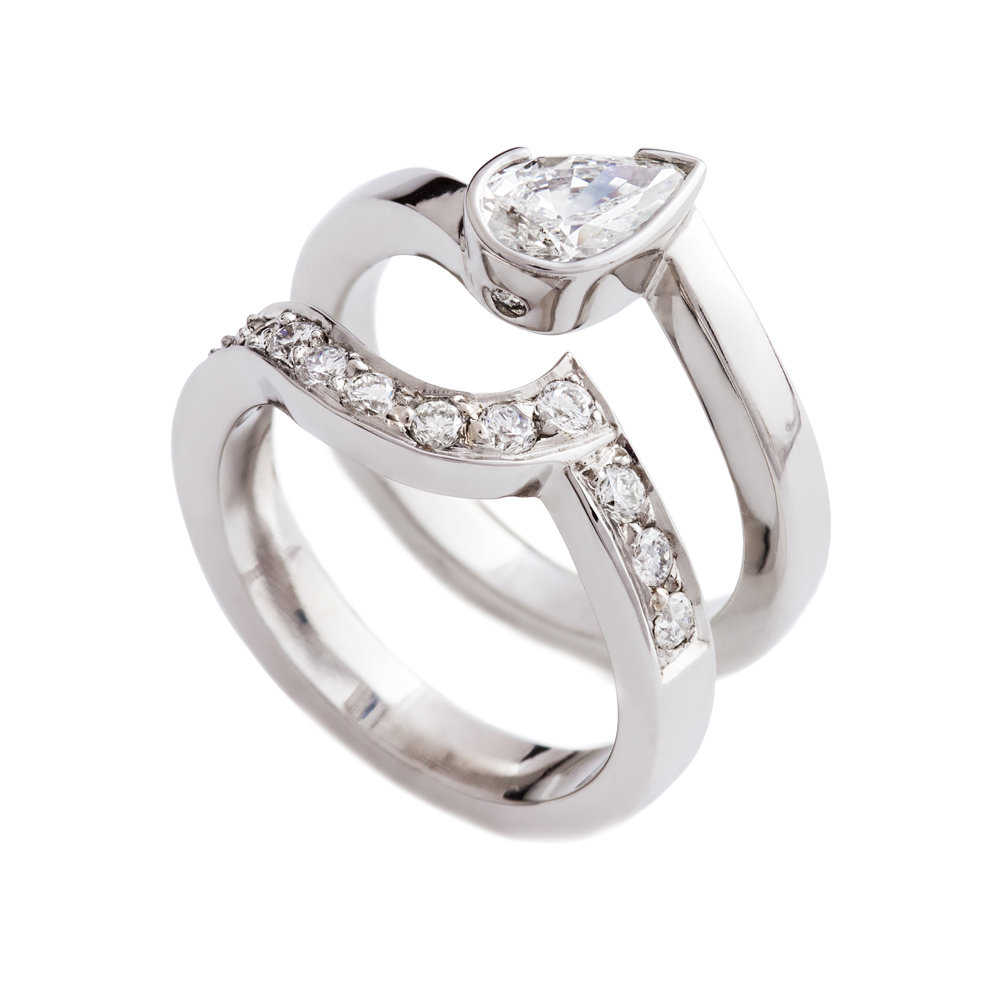 18ct white gold and diamond engagement and wedding ring set - see available to buy