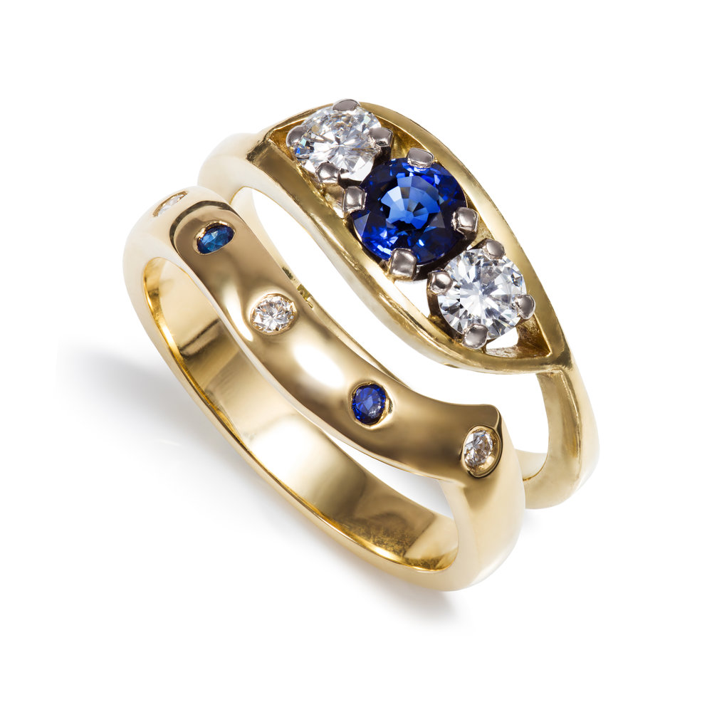 Bespoke 18ct yellow gold, sapphire and diamond engagement and wedding ring commission