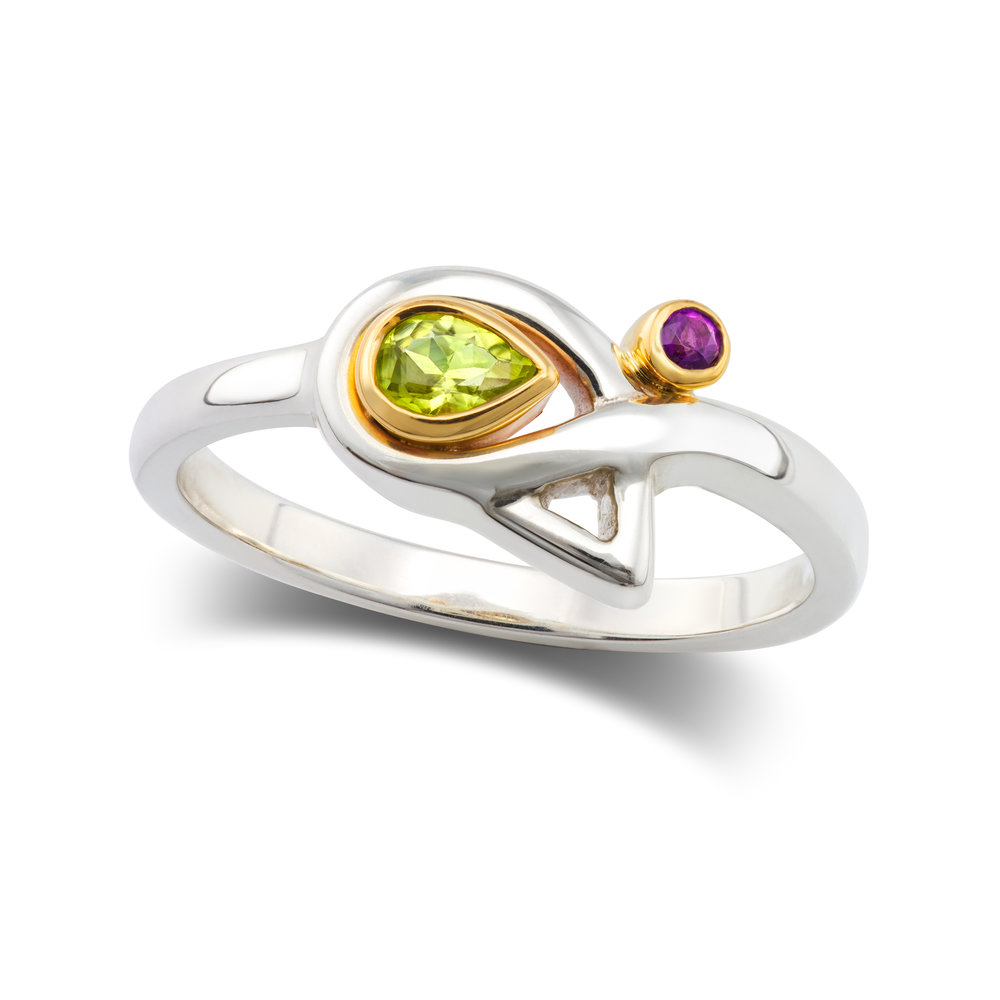 Silver ring set with one peridot and one amethyst, both in 9ct yellow gold rubover settings - £375