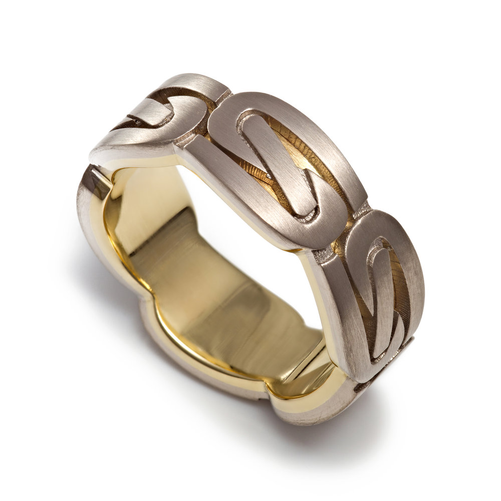 18ct white and yellow gold celtic wedding band - £1,940