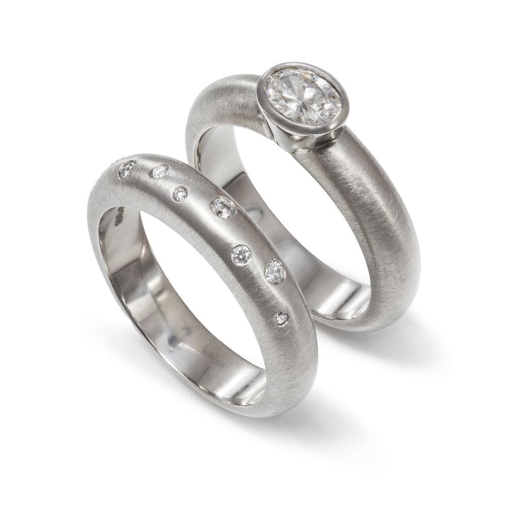 Bespoke platinum diamond engagement and wedding ring commission