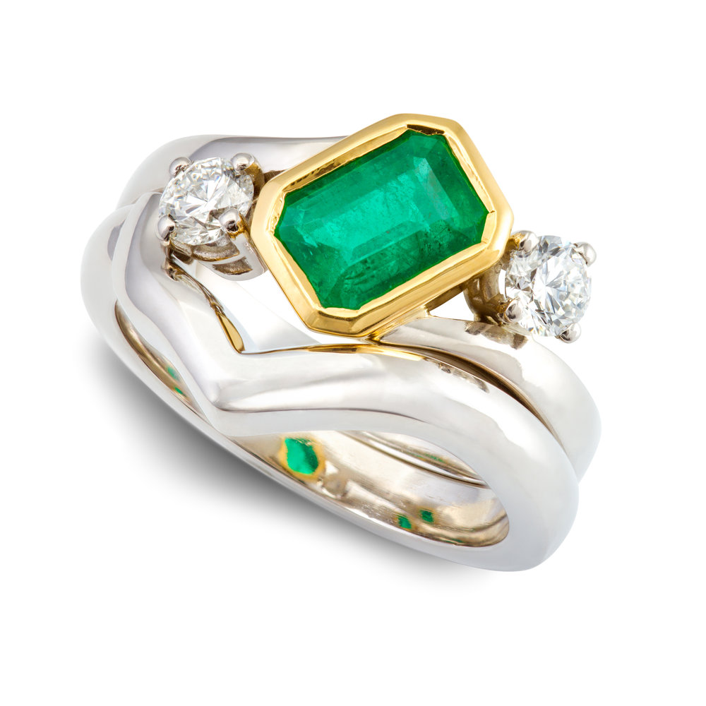 Bespoke palladium, 18ct yellow gold, emerald and diamond engagement and wedding ring commission