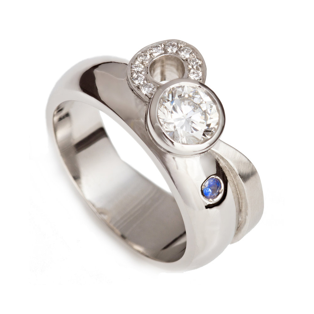 Bespoke platinum, diamond and sapphire ring commission