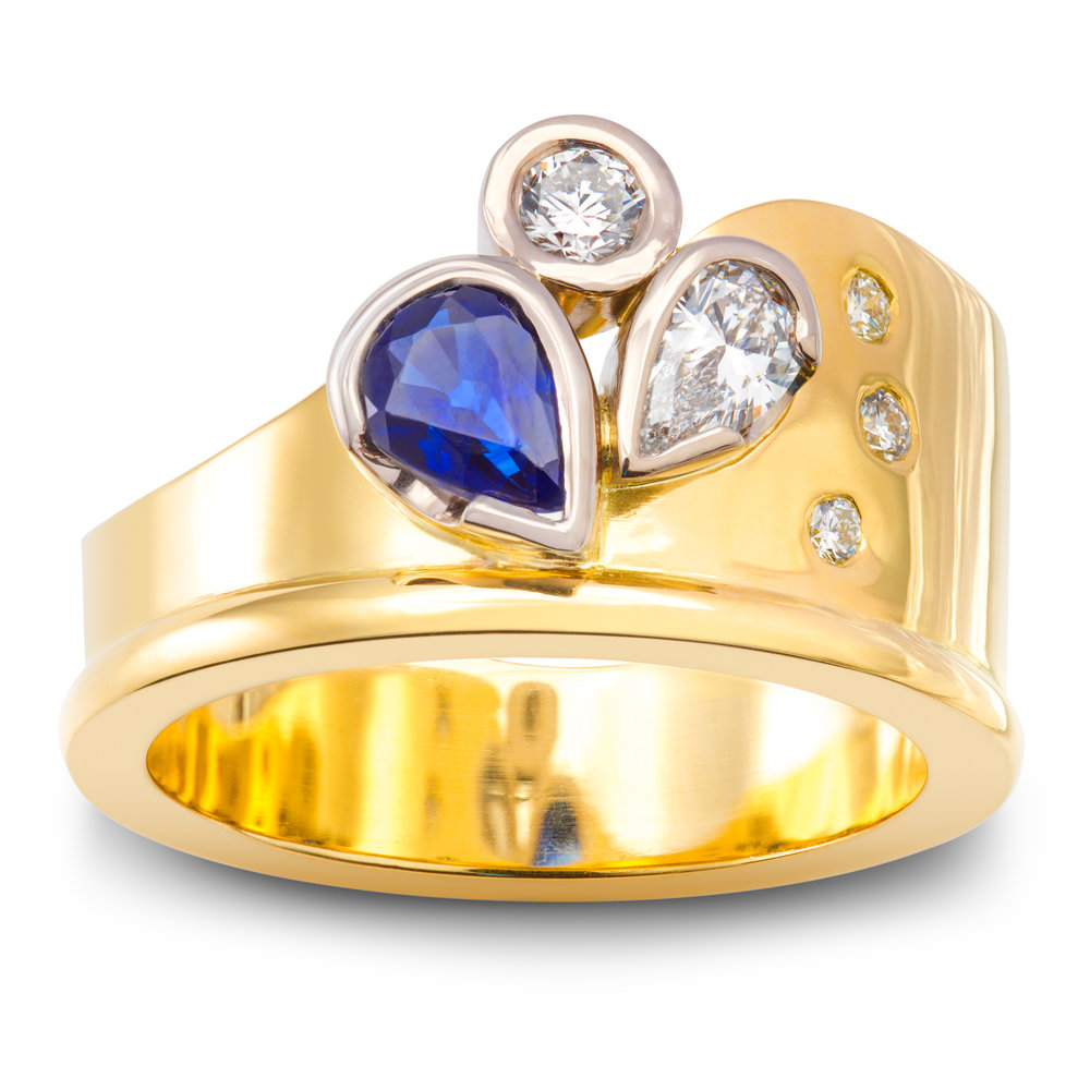 Bespoke 18ct yellow gold sapphire and diamond dress ring commission