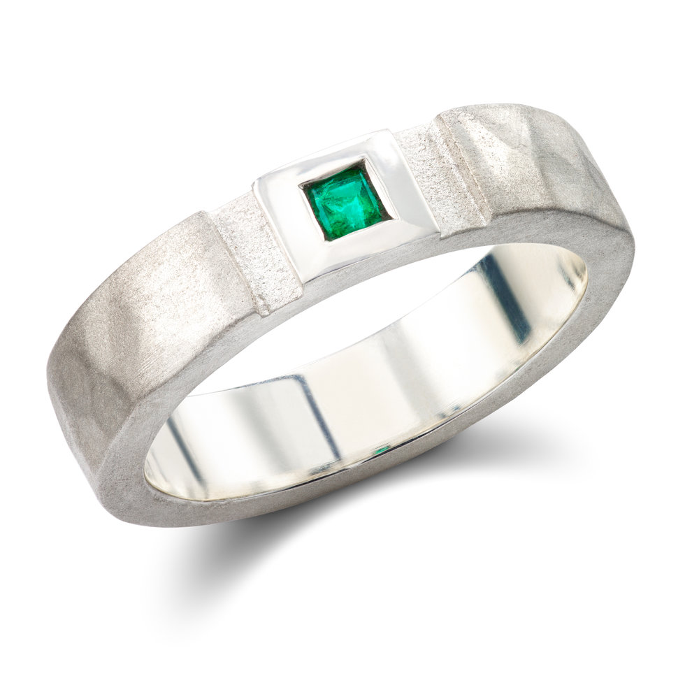 Bespoke silver and emerald dress ring commission