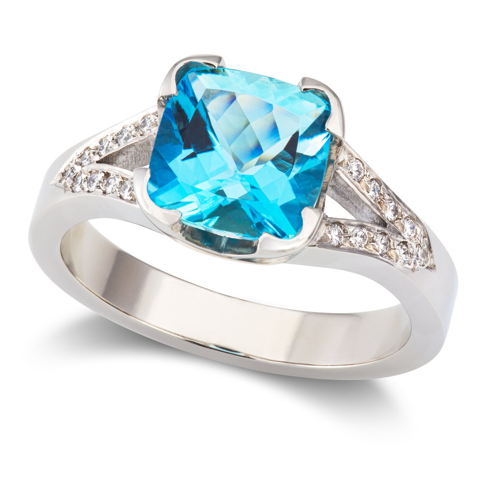 Bespoke platinum, aquamarine and diamond engagement ring commission