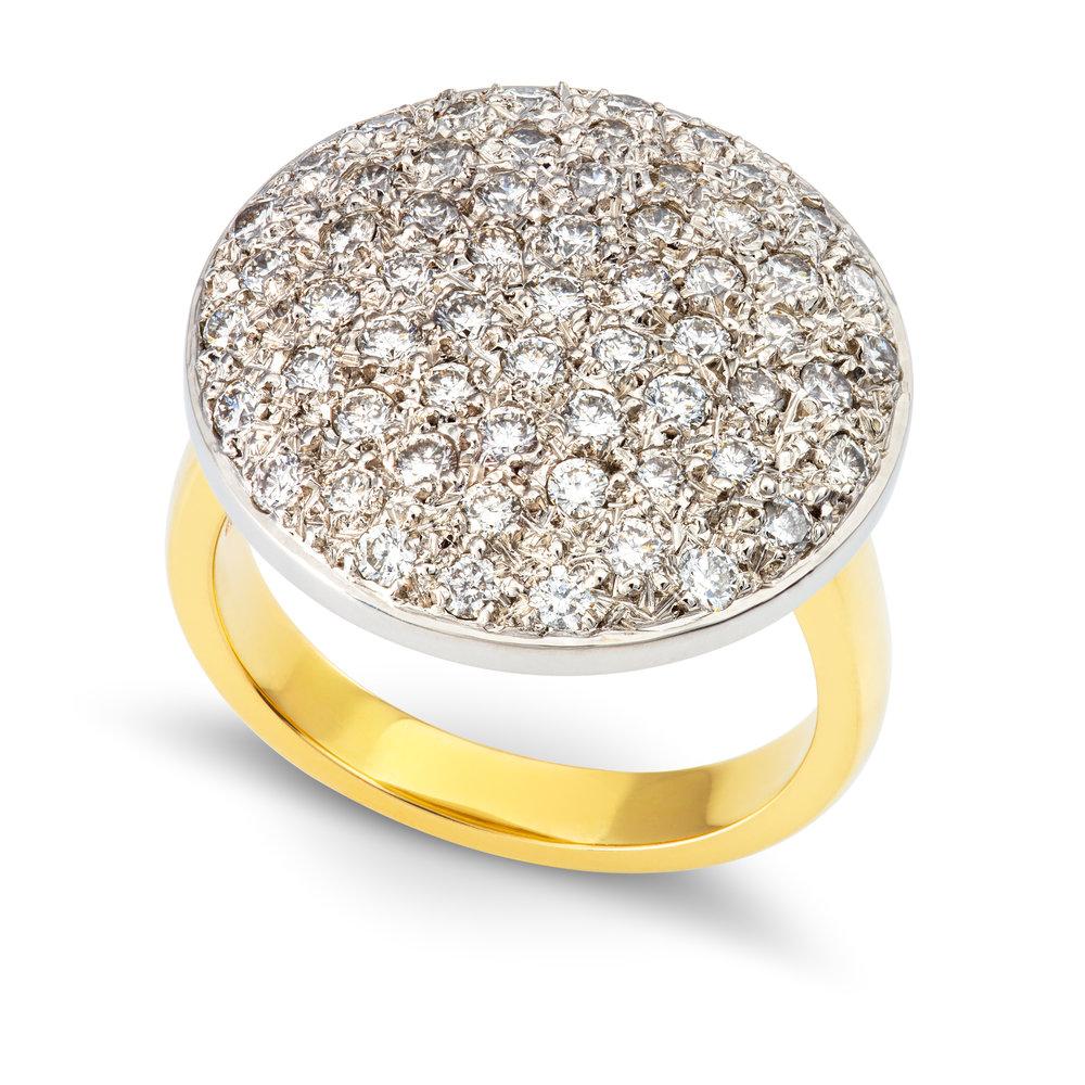 Bespoke 18ct yellow gold, palladium and diamond dress ring commission