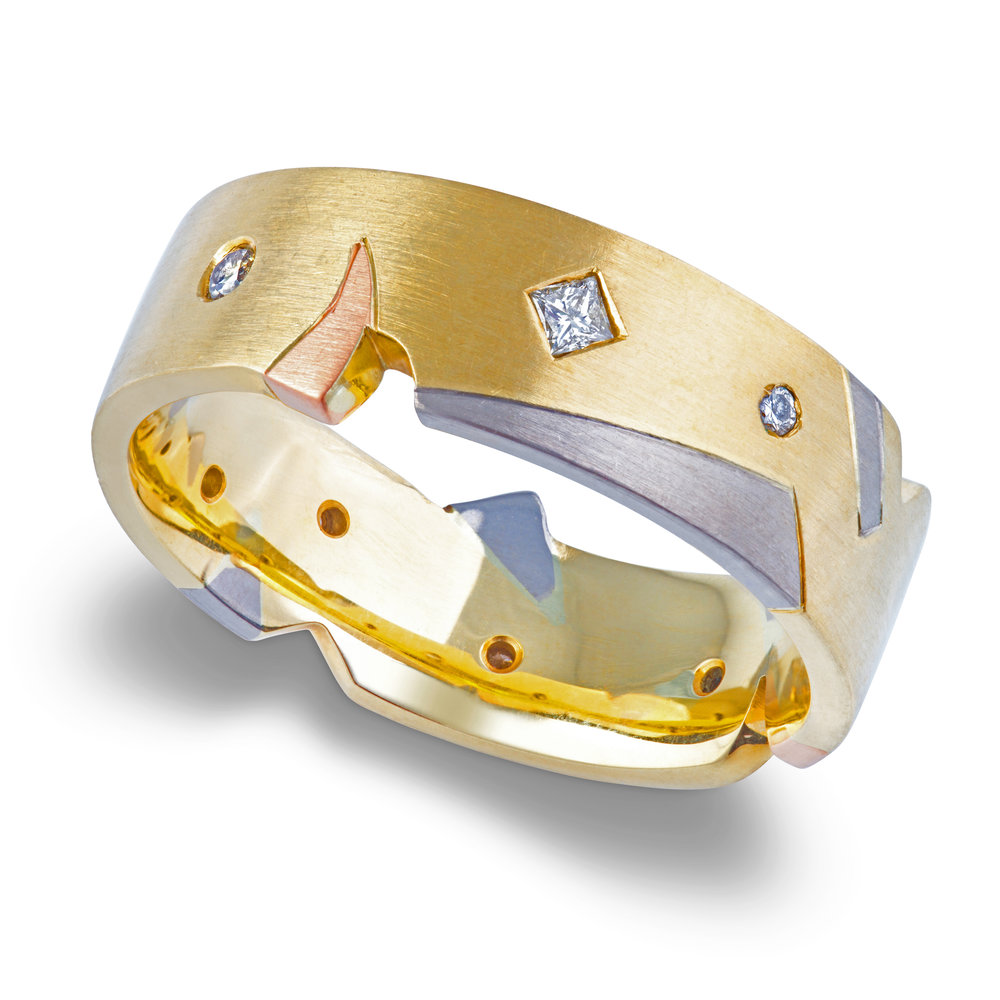 Bespoke 18ct yellow, rose, white gold and diamond gents wedding ring commission