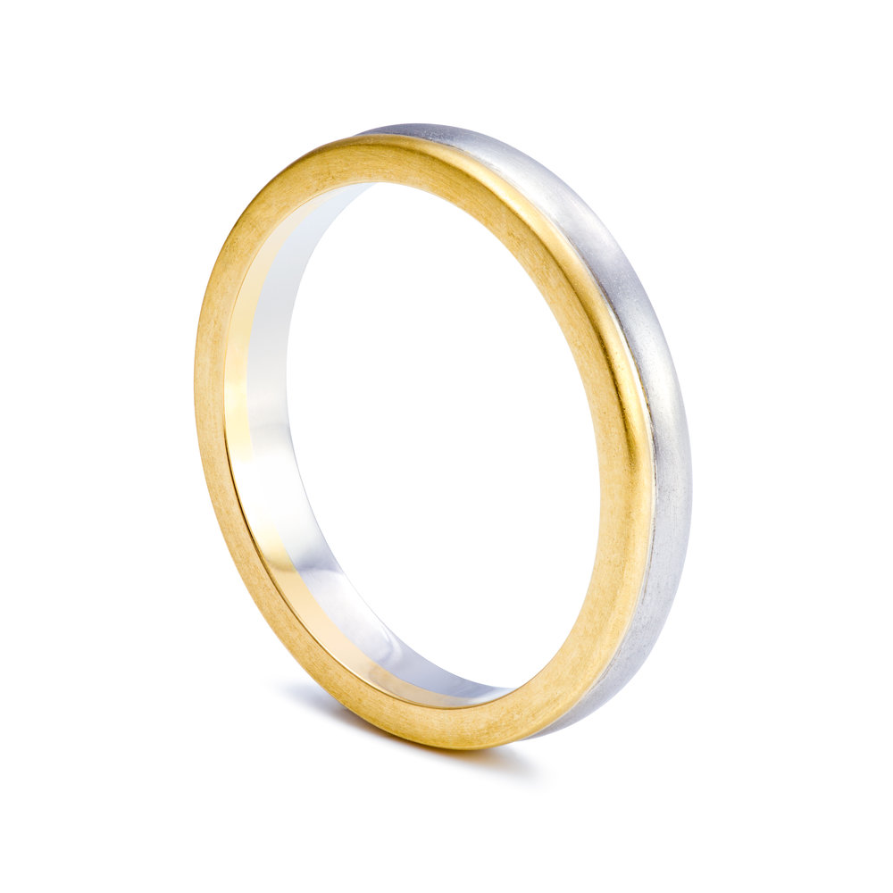 Bespoke 18ct yellow gold and palladium wedding ring commission
