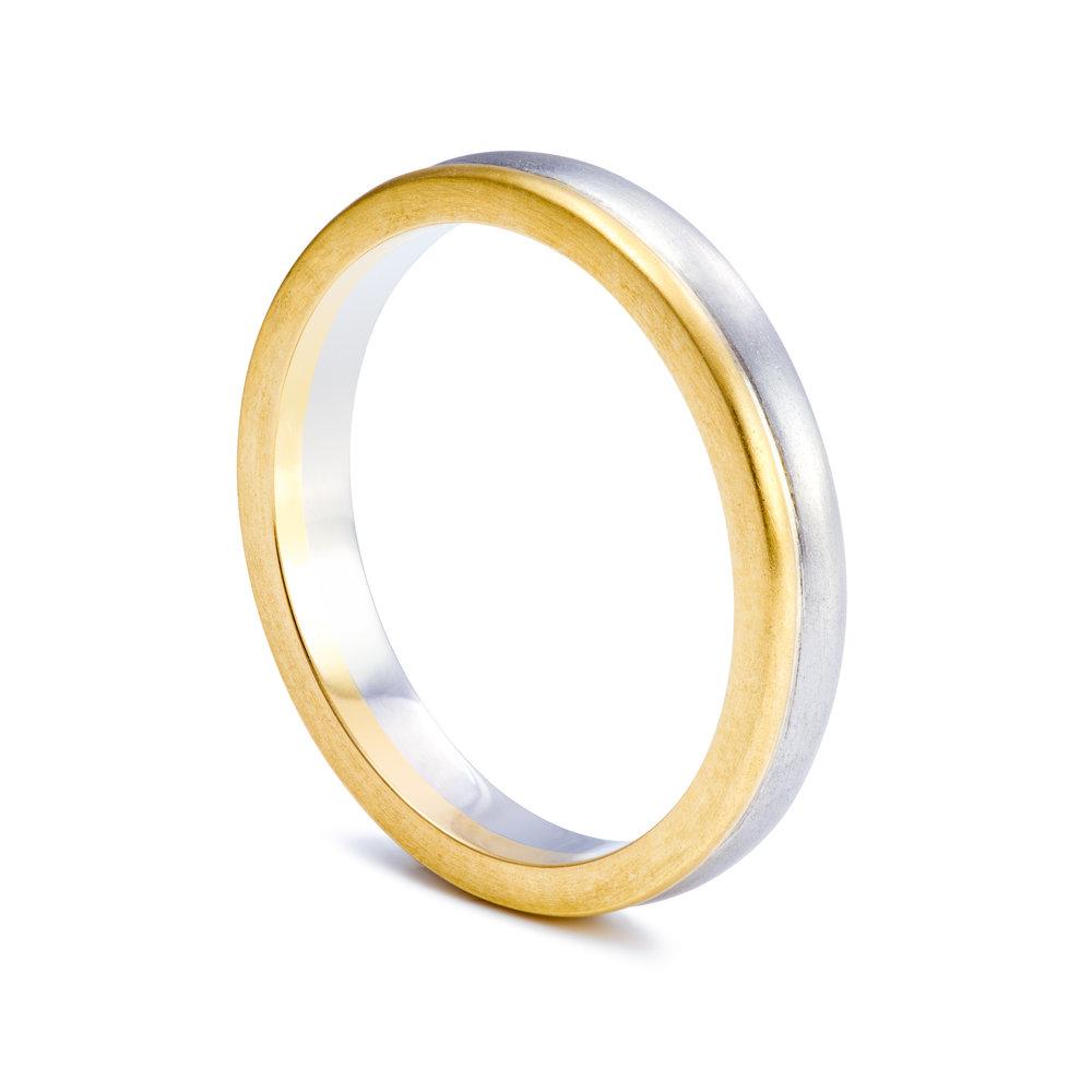 Bespoke 18ct yellow gold and palladium wedding ring commission