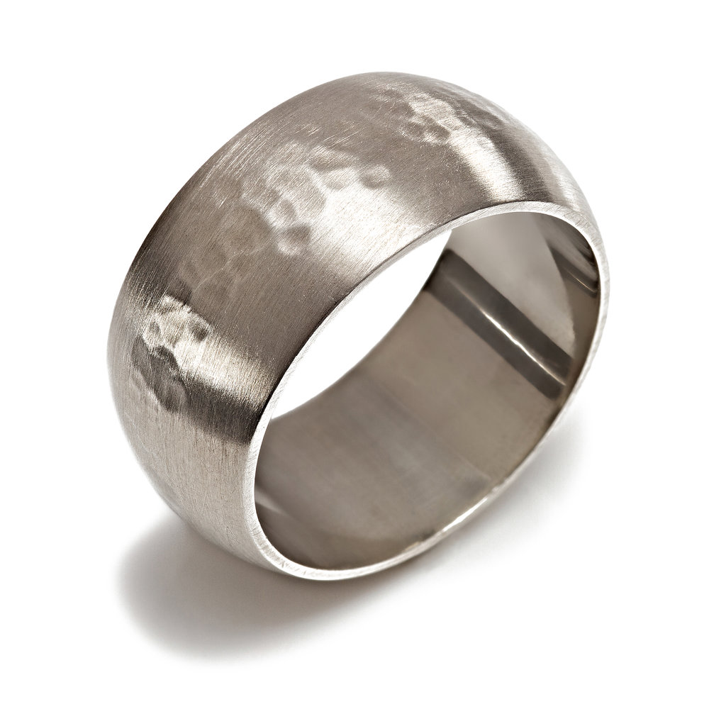 Silver hammered ring - see available to buy