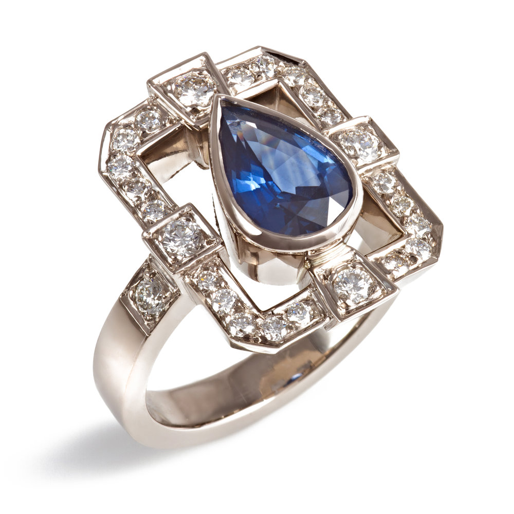 Bespoke 18ct white gold, sapphire and diamond ring commission