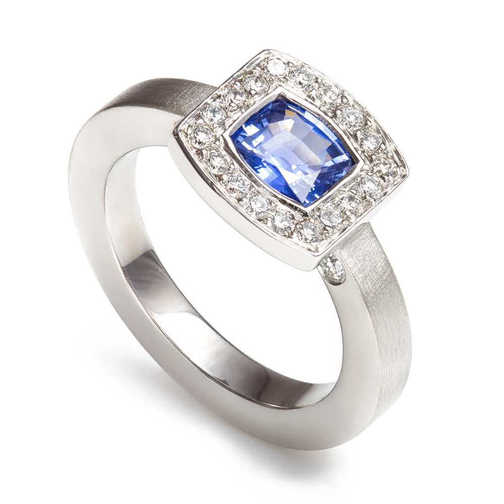 Bespoke platinum sapphire and diamond dress ring commission