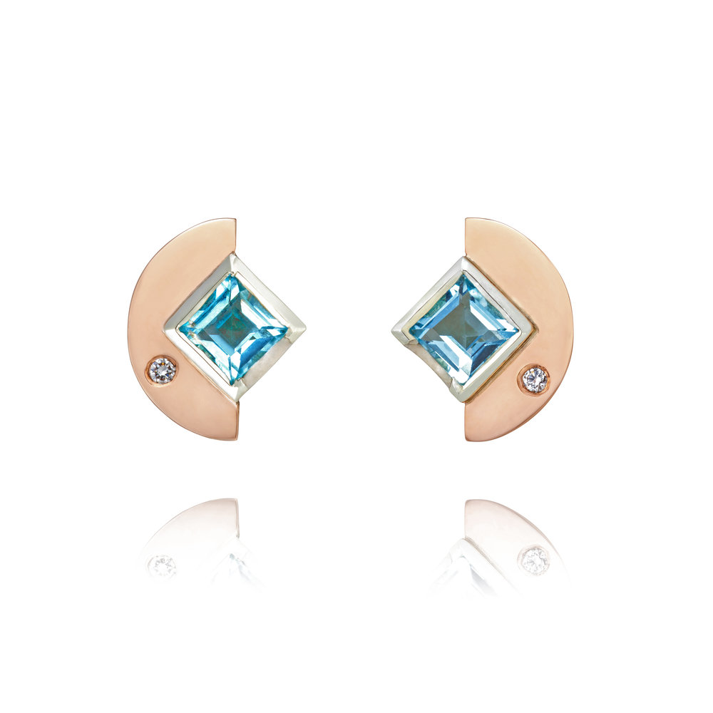 9ct rose gold, white gold, aquamarine and diamond stud earrings - £1,080